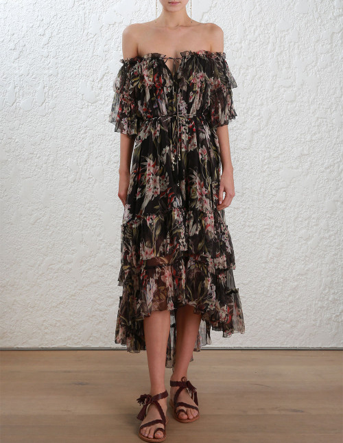 2.2463DCUR.BKP.Black_Print-Curacao-Palm-Shoulder-Dress-front